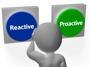Reactive Proactive Buttons Showing Taking Charge Or Inaction