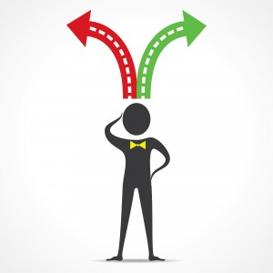Istock Man with Red-Green Arrows from Head